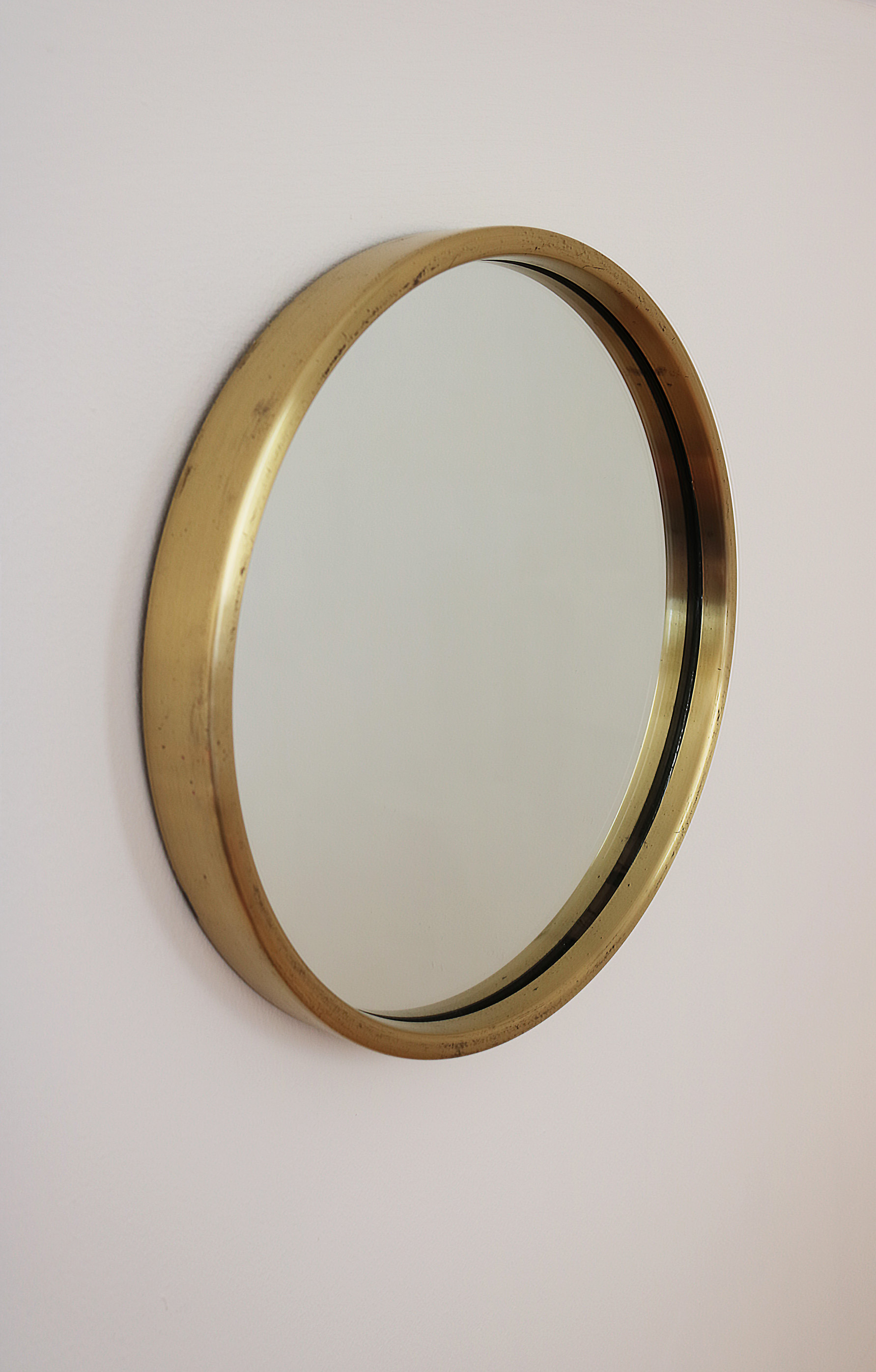 Scandinavian Design An Original 1960s Swedish Glasmäster Markaryd Round Brass Porthole Mirror