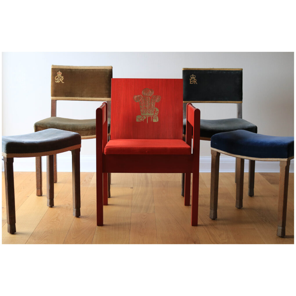 A suite of Coronation furniture including King George VI chair, stool; HM Queen Elizabeth II chair and stool; Prince Charles Investiture chair