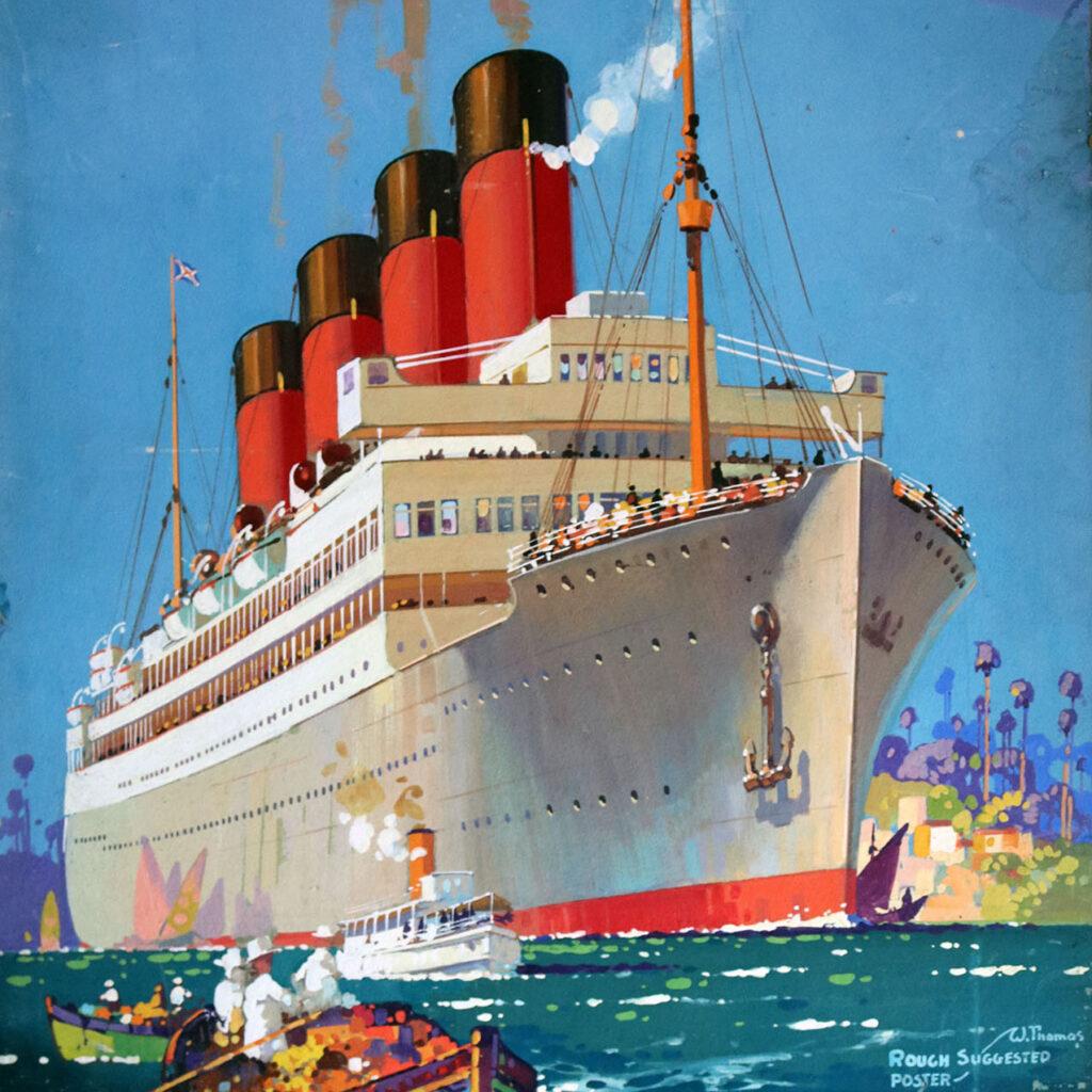 Walter Thomas original ocean liner painting 1920s