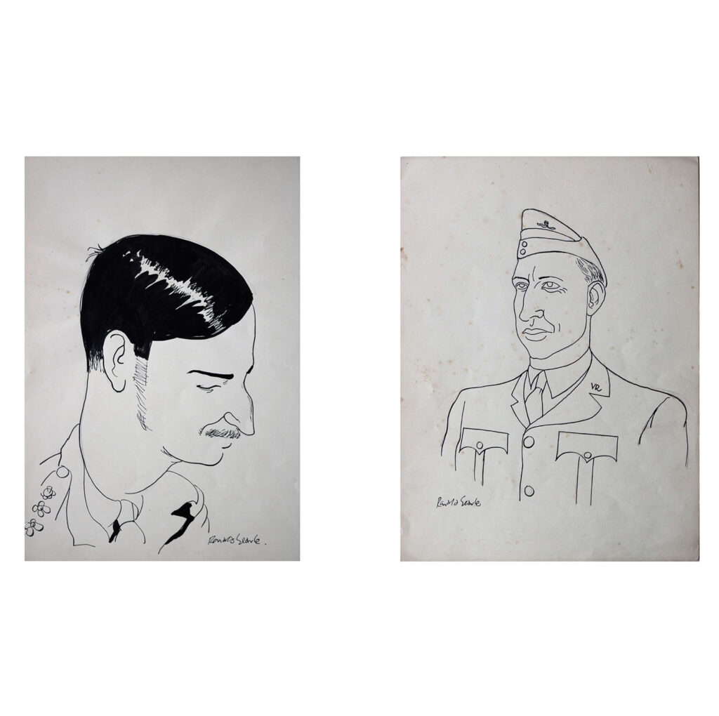 Ronald Searle Original Officer Portraits, 1940s