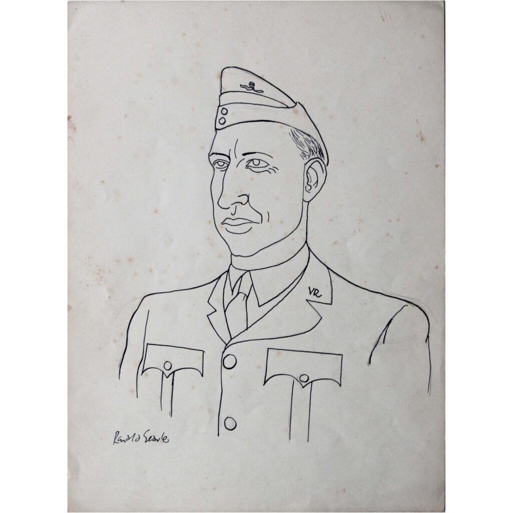 Ronald Searle Original portrait drawing of an Officer