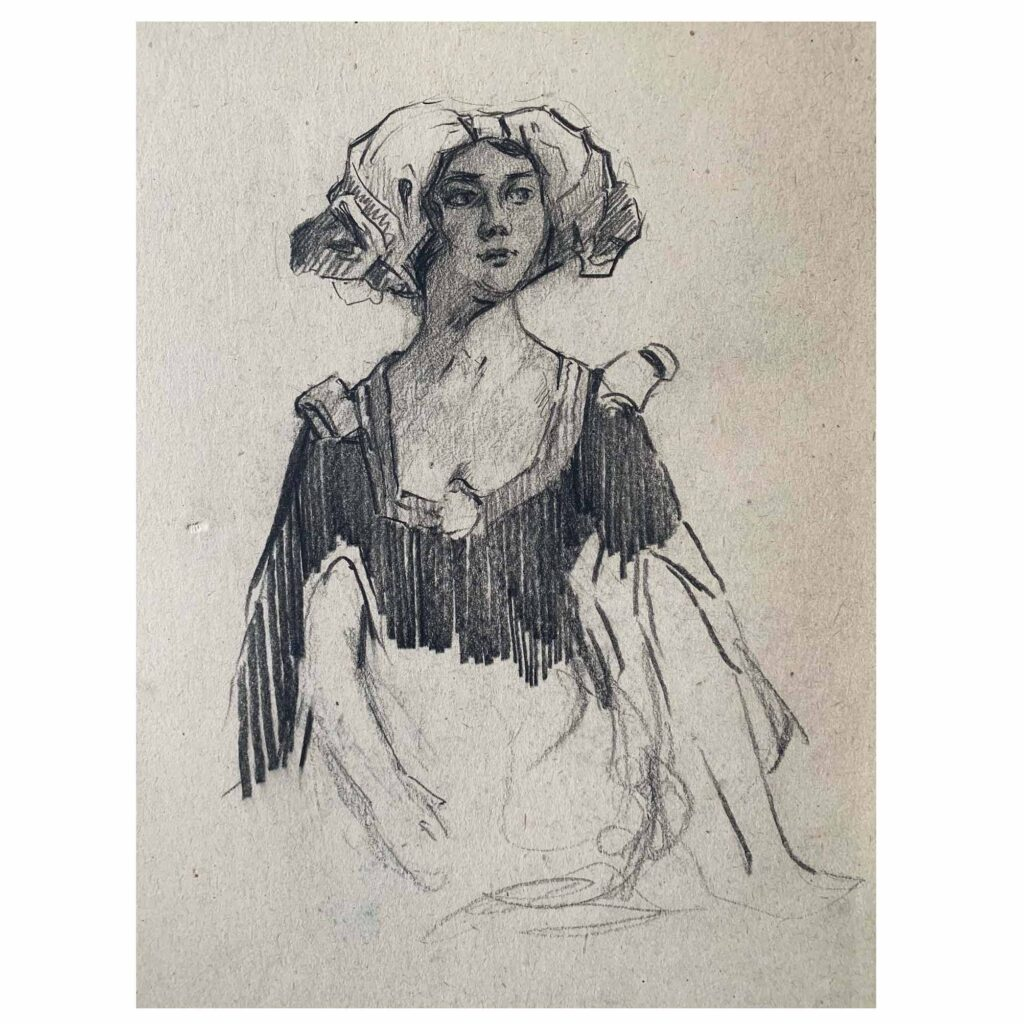 William Monk original portrait drawing, Female figure wearing a headdress