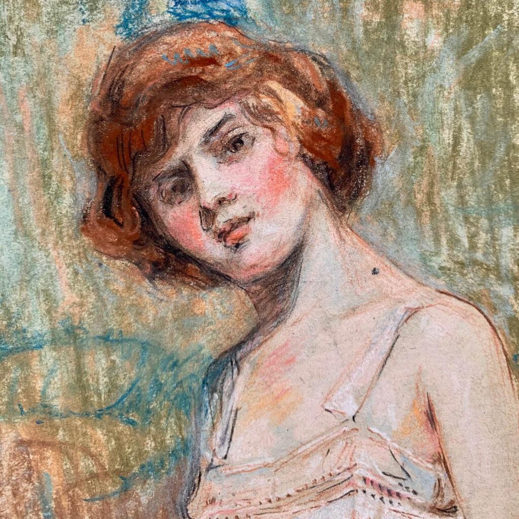 William Monk original pastel portrait of an Edwardian lady