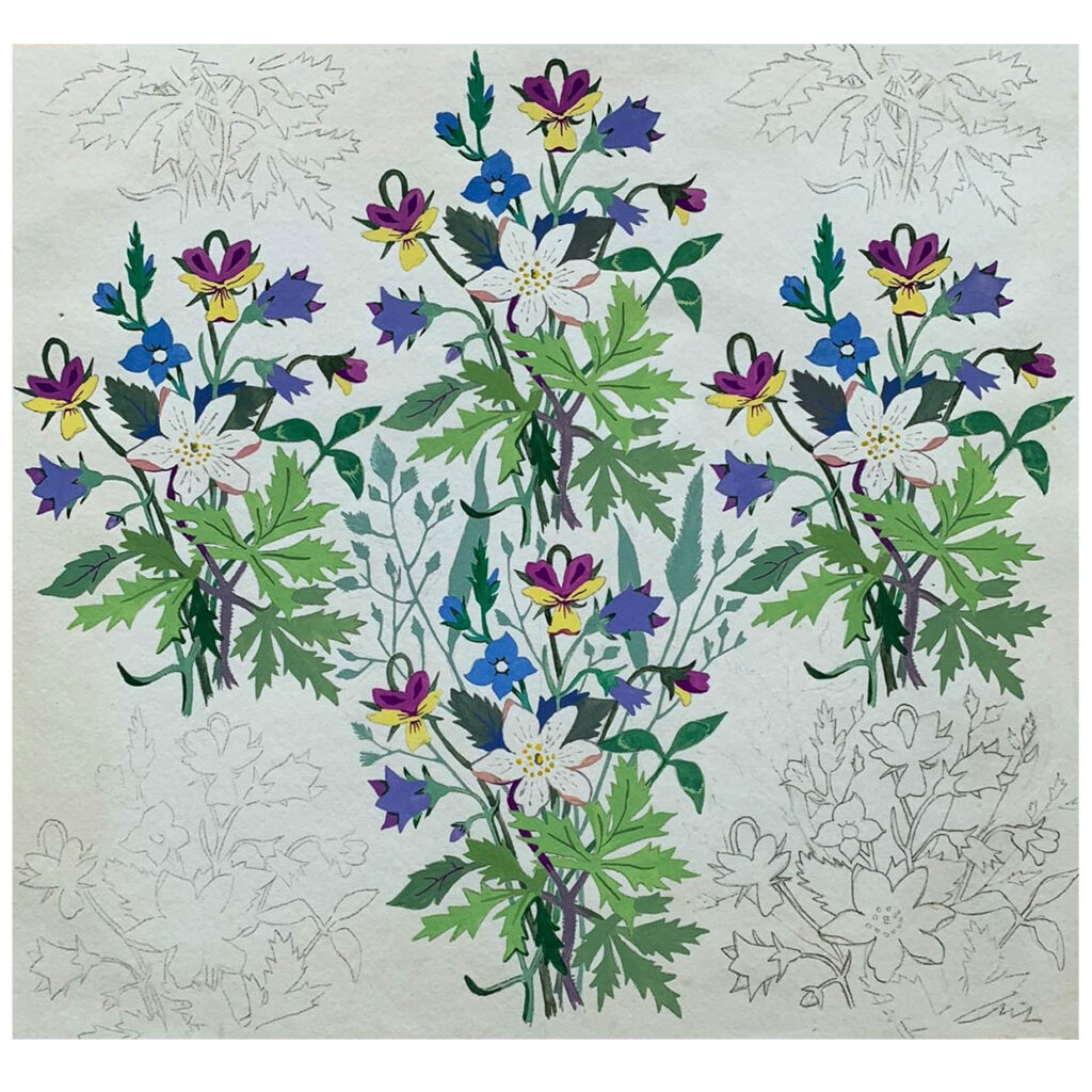 An original vintage concept design for wallpaper, 1930s, featuring wildflowers