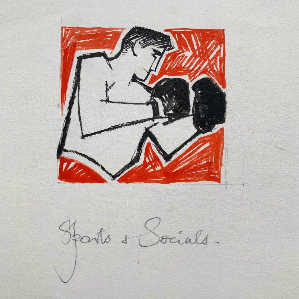 An original Edgar Norfield boxer illustration, titled 'Sports & Socials', c. 1950s