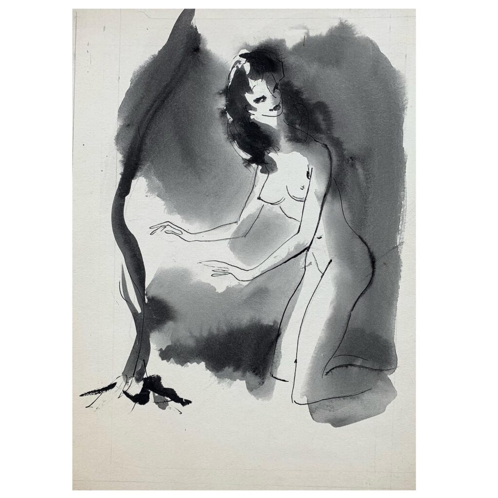 An original caricature of a female nude pin-up by Edgar Norfield, c. 1940s