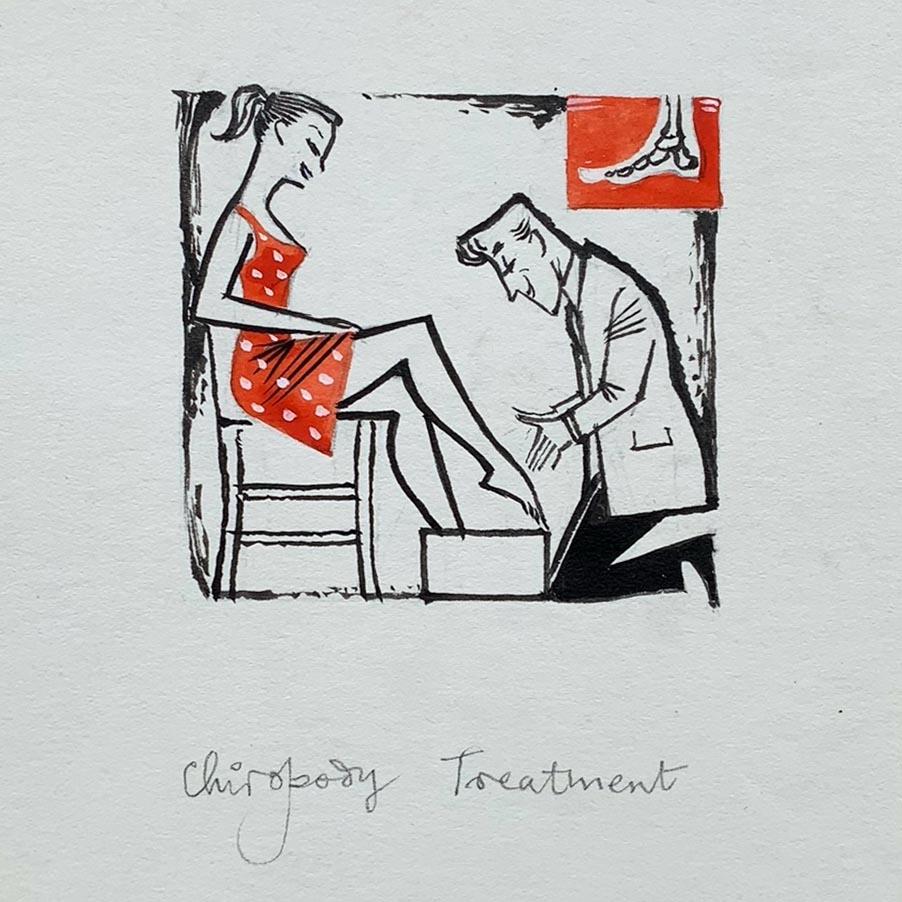 Edgar Norfield humorous illustration title 'Chiropody Treatment'